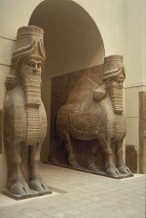 Lamassu from the citadel of Sargon II, Dur Sharrukin Neo-Assyrian. c. 720-705 B.C.E. Alabaster The Assyrian lamassu sculptures are partly in the round, but the sculptor nonetheless conceived them as high reliefs on adjacent sides of a corner. The combine the front view of the animal at rest with the side view of it in motion. Seeking to present a complete picture of the lamas from both the front and the side, the sculptor gave the monster five legs- two seen from the front, four seen from the side.