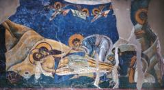 Lamentation, Byzantine Master, 1164, fresco, St. Pantaleimon, Macedonia