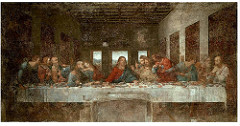 Last Supper by Leonardo Da Vinci, High Ren - Oil and tempura on fresco  - First great figural composition of high ren - Parallel to picture frame - simple, spacious room, highly dramatic action piece - christ perfect repose, balanced amidst chaos  - isolated w/windows also 'natural halo' w/rounded tympanum and window of light around jesus's head - perspective lines meet above christ's head, creates physical and psychological focus at wider areas - four groupings : wide range emotions, united through gestures - groups of 3, each different response to who will betray christ, gesturing to christ - judas same side of table as christ, face in shadow, clutching money bag, leaning on table: when christ declares 'hand betrayeth me is on tale with me', so.. links christ and judas - two disciples at end also linked and close off scenes, like (parentheses) dramatic composition - monumentality/mathematically ordered space, linked w/freedom of movement at expense of monumentality and controlled space  - eye level allows viewer to truly see actions - coffered ceiling, panels on side all contribute to 1-pt perspective