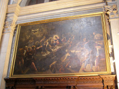 Last Supper by Tintoretto, Venetian - didactic nature of scene - underground tavern, supernatural lighting illuminating heads - halos  - oil lamp, fire in shape of wings, creates glow - smoke = angels - christ at center of table, receeds into space  - impression of talking, interaction between people - heavy, hazy atmosphere, spiritual quality  - solid forms melt into light and dark - limitless space - sharp angles, lines merging quickly, orthoganals? - chiarroscuro lighting