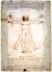Leonardo da Vinci, Italian. Self Portrait Drawing, Left. C. 1512—15. Vitruvian Man, Right. 1485--90 High Renaissance.