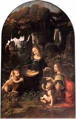 Leonardo da Vinci Virgin of the Rocks Period: Renaissance Basic Pyramidal composition demonstrates his interest in geology and botany