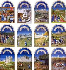 Les Tres Riches Heures du duc de Berry by Limbourg Brothers, 15th Cen. Northern Ren  - Book of hours replaced gospels, used for recitation of prayers  - Pages illumines, 6 pages of blah and blah - Center - office of blessed virgin, part of religious references, devotional  - decentralisation of government, later afected reformation -lunettes w/chariots of sun with monthly cycles, yearly cycle  - power of duke and power w/peasants  - propagandistic as it pushed power of duke
