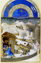 Limbourg Brothers Jan, Herman, & Pol, Netherlandish (lived in France) February . Les Tres Riches du duc de Berry, 1413-1416, Northern Renaissance, Netherlandish