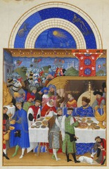 Limbourg Brothers , Jan, Herman, & Pol (Nijmegen/Bourges). January. Tres Riches Heures of the Duke of Berry. c. 1413-16 (Chantilly, France) Early Netherlandish