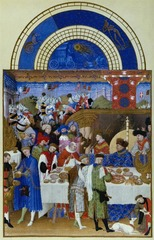 Limbourg Brothers January, from Les Tres Riches Heures de Duc de Berry  1413-1416 Ink on vellum - The pictures in Les Tres Riches Heures de Duc de Berry depict characteristic activities of each month and gives unusual prominence to genre subjects, reflecting the increasing integration of religious and secular art - Translates to The Very Sumptuous Hours of the Duke of Berry - a book of hours was used for reciting prayers