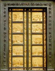 Lorenzo Ghiberti, Italian, The Gates of Paradise, 1425-1452, Early Italian Renaissance -In 1425 the church officials of Florence commissioned Ghiberti to do the east doors of the Florentine Baptistery, -Each panel contains a relief set in plain molding and depicts a scene from the Old Testament. --Ghiberti achieved a greater sense of depth than his previous reliefs -he maintained the medieval method of representing several narratives in a single frame