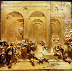 -Lorenzo Ghiberti, Italian, The Story of Jacob and Essay, Detail of the Gates of Paradise, baptistery of Florence, 1425-1452, Early Italian Renaissance -three part story