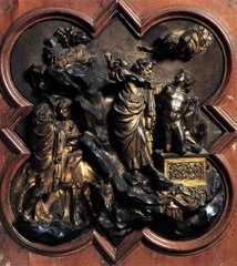 Lorenzo Ghiberti  Sacrifice of Isaac competition panel for east doors, baptistery of Florence Cathedral, Florence, Italy, Gilded bronze relief Period: Renaissance Graceful poses classical influences-form of Isaac use of landscape S curve movement throughout piece