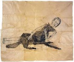 Lying with the Wolf Kiki Smith. New York. 2001 C.E. Ink and pencil on paper Featuring an act of bonding between human and animal, reverence for the natural world. ther domestic piece of fabric. The depiction of a woman and dangerous animal so easily coexisting is a powerful visual message, one that reminds us of Biblical characters, figures from Greek myth, and even eastern deities.