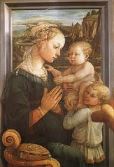 Madonna and Child w/Angels by Fra Filippo Lippi, 15th Cen. Italian Ren - huamnization of religious subject matter  - movement throughh shape of drapery  - linear style, look, very fluid composition  - everything connects  - model used, wordly and earthly  - landscape behind, seated nxt to window - intimate memonm, showcare rekationshios - natural/realistic cupids, very mischievioys - sentuous beauty?