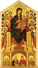 Madonna Enthroned with Angels and Prophets by Cimabue, Proto-Renaissance  - Tempura on wood - Formality of style dignifies theme presented, modeled after Byzantine examples, structural balance/background, gold accents to pull out detail to show folds, natural, 3D - deeper space to sit in, but no/little body contour - 2/3 tilt of head to viewers by lower people, more awareness/faith - Christ-child unnatural