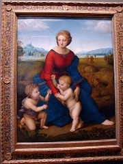 Madonna in the Meadow by Raphael, High Ren - multiples  - inspired by fra filipilipi's  - oil on panel - pyramidal compositions - playful babies, realistic, human interaction between them - thin-lined halos, subtle, still holy - modeling of faces in slight chiarroscuro  - 3-dimensionality  - realistic, light nature setting - light feathery trees, lighter tones to colors