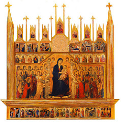 Maesta Altarpiece by Duccio, Proto-Renaissance - tempura on wood w/scenes on both sides, 7' tall  - duccio's prayer at bottom for himself, siena, siena's churches, all churches  - predella raised shelf, main part of altar - madonna enthroned as queen of heaven w/throngs people around her - figures are types - more relaxation, less rigidity, softened contours/drapery, much more fluid, flow with more curves, more loose, softness of foldings - related to life of virgin, modeling of forms in images  - color and texture manipulation, learn by observation,  - back: scenes from life of christ, passion, ressurection and etc