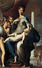 MANNERISM ITALY 1550  Parmigianino, Madonna with the Long Neck, 1534-40, oil on wood panel, 7'1
