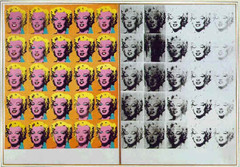 Marilyn Diptych Andy Warhol. 1962 C.E. Oil, acrylic, and silkscreen enamel on canvas Marilyn Diptych he has produced effects of blurring and fading strongly suggestive of the star's demise. The contrast of this panel, printed in black, with the brilliant colors of the other, also implies a contrast between life and death. The repetition of the image has the effect both of reinforcing its impact and of negating it, creating the effect of an all-over abstract pattern.
