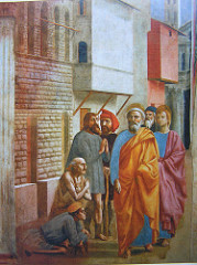 Masaccio (1401-1428/9) St. Peter healing with his Shadow Brancacci Chapel, Florence 1424-1427
