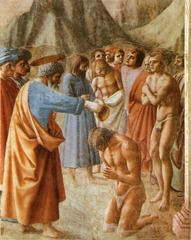 Masaccio Baptism of the Neophytes fresco Brancacci chapel 1425