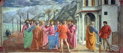 Masaccio, Tribute Money, 1425, Florence  -depicts the scene where St. Peter asks Christ if he should pay the tax collectors, but Christ tells him to hook a fish from sea and take coin from the mouth. Christ then confronts the brutish looking tax collector, while Peter goes to get the money  -scene from the New testament  -narrative from left to right  -atmospheric perspective background  -figures cast shadows