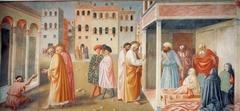 Masolino Healing a Cripple and Raising of Tabitha fresco Brancacci chapel 1425