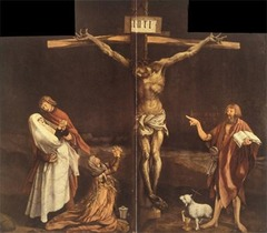 Matthias Grunewald Center panel from Isenheim Altarpiece (closed)  Isenheim, Germany  ca, 1510-1515 Oil on wood - Crucifixion in the center, reflects Catholic beliefs and incorporates several references to Catholic doctrines, such as the lamb (symbol of the son of God), whose wounds spurts blood into a chalice