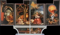 Matthias Grunewald Isenheim Altarpiece (closed)  Isenheim, Germany  ca, 1510-1515 Oil on wood - Befitting its setting in a monastic hospital, this altarpiece includes painted panels depicting suffering and disease but also miraculous healing, hope, and salvation