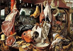 Meat Still Life by Aertsen, 16th Cen N Ren - Genre (everyday) scene - array of meats: side of hog, intestines, meat pies, animal heads, entrails, chickens. Also: fish, pretzels, cheese, butter, stragically placed moral images. - Back: Joseph leading Donkey and Mary, stops to offer alms to beggar and son, group of people going to church (vignettes) - Fish crossed = Christ - crucifixion - Pretzel - served as bread during lent - Wine - eucharist All spiritual foods  - Contrasted w/life of gluttony, lust, sloth. Right: people eating, crowding, etc :l  - Oyster and mussel shells - aphrodesiac - succumbing to lust