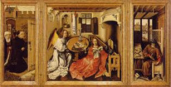 Merode Altarpiece by Campin, 15th Cen. N Renaissance - humanizing prescence of a religious scene  - aristrocratic, ornamental, romantic mood over sobered realism, everyday setting, religious figures without halos  - left: donors - man and wife of middle class, hat off because of divinity, enclosed garden w/many flowers specifically representing purity - strawberry plants / irises - humility w/violets  - center panel: annunciation theme, patron's name has to do w/'angel bringer', angel announcing to angel - mary very normal, reading, architectural scene, components of a flemish household, symbolism of theme: book, extinguished candle, lilies, basin, towels, fire screen, bench all tied to purity and mission of the virgin - luminous draping clothing, heavy folds w/light and shadow - starburst light on dress = references exact moment of conception - next to hearth = pregnant, 2 stained glass crests detailed easily seen, families who commissioned the piece  - right, shrine bringer in upstairs room, joseph as carpenter making shrine, window: lots of minature detail, mousetrap essentially Jesus's trap to catch the devil, protects people in house  - oil painting allowed for better blending, layers, realism, shine, intensities of color, etc