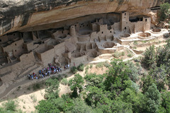 Mesa Verde cliff dwelling Montezuma County, Colorado Ancestral Puebloan (Anasazi) 450-1300 C.E. Sandstone The cliff dwellings remain, though, as compelling examples of how the Ancestral Puebloans literally carved their existence into the rocky landscape of today's southwestern United States.