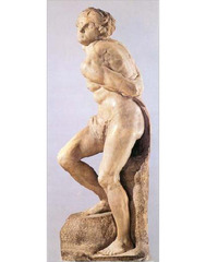 Michelangelo, Italian. Bound Slave (for the tomb of Pope Julius II), 1513—15. . High Renaissance.