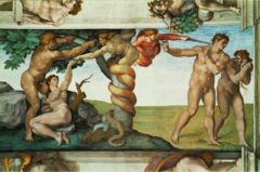 Michelangelo, Italian. Fall and Expulsion of Adam&Eve, Sistine Chapel Ceiling, 1512. High Renaissance.