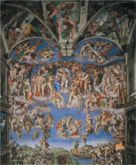 Michelangelo, Italian. Last Judgment, Sistine Chapel, , 1536--41. High Renaissance. -Paul III's first papal commission, for the altar wall of the Sistine Chapel -Michelangelo depicts Christ as the stern judge of the world, a mighty giant, he raises his mighty right arm in a gesture of damnation so broad and universal as to suggest he will destroy all creation -Olympian Pagan depiction, suggests connection High Renaissance artists felt between classicalism and Christianity -The choirs of heaven around him pulse with anxiety and awe -martyrs are depicting, some who endured agonizing deaths (st. bartholomew, who was skinned alive, its face a grotesque self-portrait of Michelangelo