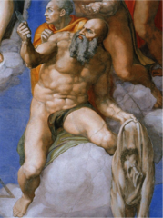 Michelangelo, Italian. Last Judgment, Sistine Chapel, and detail of St. Bartholomew, 1536--41. .High Renaissance.