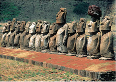 Moai on platform (ahu) Rapa Nui (Easter Island). c. 1100-1600 C.E. Volcanic tuff figures on basalt base Rapa Nui, also known as Easter Island (a name given to it by Europeans), is located in the southeast Pacific and is famous for its approximately 1,000 carvings of moai, human-faced statues.