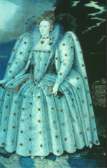 modified cone-shaped fathingale. Elongated and pointed waist, leg-o-mutton and hanging sleeves. She wears a split ruff, a fan and gloves. Hair is decorated in pearls.