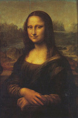 Mona Lisa by Leonardo Da Vinci, High Ren - ridiculously small - wife of banker named Giocondo - Mona = italian contraction of 'madonna', Lisa = first name - individual representation, not iconostasis - originally framed w/columns - half-length portrait  - quietly folded arms as she looks out at viewer, disturbing because her look is so direct  - mysterious quality: smile w/chiaroscuro lighting, reveals human psychology - disguises her here - light subtle enough that planes look blurred - sfumato  - ambiguous landscape - blended into it w/light and shadow in her garmet - light and shadow on veil 'caressses' face  - right: more light, left: shadow, very sly, no eyebrows=more shadow - hands are beautiful - very smooth, delicate - took out creases, graceful