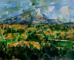 Mont Sainte-Victorie Paul Cézanne. 1902-1904 C.E. Oil on canvas Displays less precise brushstrokes allowing the shape of the mountain to emerge from the canvas like an apparition. It's the painter's intention to show nature as it is, without omitting to convey an emotion.