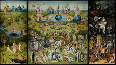 Name: Garden of Earthly Delights Date: 1505-1510 Artist/Architect:Hieronymus Bosch Period/Style:15th Century Flemish Art  Original Location: Palace of Henry III of Nassau in Netherlands Material/Technique: Oil on wood Function: It is a painting on a triptych. The extreme subject matter of the inner center and right panels make it unlikely that it was intended to function in a church or monastery, but was instead commissioned by a lay patron. Context/relevant ideas relating to artwork: In the left panel, God presents Eve to Adam in a landscape, possibly Garden on Eden. The right panel bombards viewers with the horrors of Hell. The huge central panel depicts nude people in a landscape of bizarre creatures, unidentifiable objects, and fertility symbols. Descriptive terms:enigmatic, 7ft, 12 feet wide, secular commission, marriage, sex, procreation, wedding commemoration, Meaning of the work/message of work: serves as a warning to viewers of the fate awaiting the sinful, decadent, and immoral.