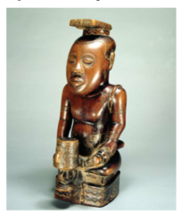 Ndop (portrait figure) of King Mishe miShyaang maMbul Kuba peoples (Democratic Republic of the Congo). c. 1760-1780 C.E. Wood The ndop of Mishe miShyaang maMbul is part of a larger genre of figurative wood sculpture in Kuba art. These sculptures were commissioned by Kuba leaders or nyim to preserve their accomplishments for posterity. Because transmission of knowledge in this part of Africa is through oral narrative, names and histories of the past are often lost. The ndop sculptures serve as important markers of cultural ideals. They also reveal a chronological lineage through their visual signifiers.