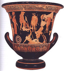 Niobides Krater Anonymous vase painter of Classical Greece known as the Niobid Painter. c. 460-450 B.C.E. Clay, red-figure technique By bringing in elements of wall paintings, the painter has given this vase its exceptional character. Wall painting was a major art form that developed considerably during the late fifth century BC, and is now only known to us through written accounts. Complex compositions were perfected, which involved numerous figures placed at different levels. This is the technique we find here where, for the first time on a vase, the traditional isocephalia of the figures has been abandoned.