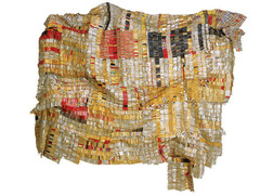 Old Man's Cloth El Anatsui. Southern Nigeria. 2003 C.E. Aluminum and copper wire A statement piece to remember his regions history and culture through using elements related to the most influential and culture-shaping events. This piece specifically is meant to serve as a reminder of the uneasy history of trade between Europe and Africa.