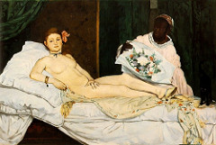 Olympia Édouard Manet. 1863 C.E. Oil on canvas Olympia and the controversy surrounding what is perhaps the most famous nude of the nineteenth-century. Olympia had more to do with the realism of the subject matter than the fact that the model was nude.