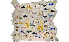 Painted elk hide Attributed to Cotsiogo (Cadzi Cody), Eastern Shoshone, Wind River Resservation, Wyoming. c. 1890-1900 C.E. Painted elk hide Cotsiogo began depicting subject matter that