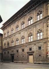 Palazzo Rucellai Florence, Italy. Leon Battista Alberti (architect). c. 1450 C.E. Stone, masonry It uses architectural features for decorative purposes rather than structural support; like the engaged columns on the Colosseum, the pilasters on the façade of the Rucellai do nothing to actually hold the building up .Also, on both of these buildings, the order of the columns changes, going from least to most decorative as they acend from the lowest to highest tier.