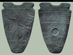Palette of King Narmer Pre-dynastic Egypt. c. 3000-2920 B.C.E Greywacke Egyptian archelogical find, dating from about the 31st century B.C, containing some of the earliest hieroglyphic inscription ever found.