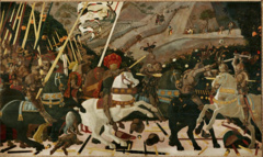 Paolo Uccello, Italian. Battle of San Romano, c. 1455. Early Renaissance. -Teh interest in linear perspective, and the secular focus in Florentine art is sine of Early Italian Renaissance -the scene commemorates a Florentine victory over the Sienese in 1432, it recognizes Florentine victory but also acknowledges the Medici in symbolic form: he bright orange fruit placedbehing the unbroken sturdy lances, symbolizes the Medici family, as oranges were medical apples and Medici means doctor -linear perspective is empliyed, rationalized vision (very humanist) -orthogonals converging at vanishing point at the horizon -gives a sense of space They are significant as revealing the development of linear perspective in early Italian Renaissance painting, and are unusual as a major secular commission. The paintings are in egg tempera on wooden panels, each over 3 metres long. According to the National Gallery, London, the panels were commissioned by a member of the Bartolini Salimbeni family in Florence sometime between 1435 and 1460. The paintings were much admired in the 15th century; Lorenzo de' Medici so coveted them that he purchased one and had the remaining two forcibly removed to the Palazzo Medici. They are now divided between three collections, the National Gallery, the Galleria degli Uffizi, Florence, and the Musée du Louvre, Paris.