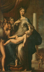 Parmagianino. Madonna of the Long Neck. Mannerist artist. The subject is a simile taken from a Medieval hymn in which the virgin's neck is likend to an ivory column. He exaggerates the limbs of his figures echoing the columns. This accenuates the elegance and gracefulness of the figures.