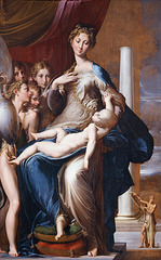 Parmigianino Madonna of the Long Neck Period: Mannerism lack of rational perspective compared to michelangelo's pieta elongated forms and abstractions