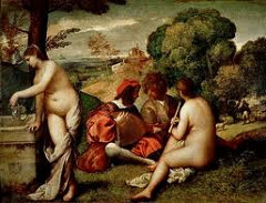Pastoral Symphony by Giorgione, Venetian  - dense shadows in background - make figures emerge softly out of the shadow, hazy darkness, shadowed background - theme of nude women w/clothed men in landscape setting w/shepherd in background  - distance : villa on hillside - evokes pastoral mood w/shepherd as poet, pipes and lute = poetry, 2 women actually invisible muses, Georgione's poetry - getting water - well of poetic inspiration - modeling through shadows, voluptuous women = abundancy of poetry, nature  - lost but unforgotten paradise