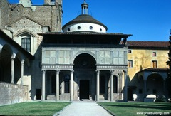 Pazzi Chapel Basilicia di Santa Croce. Florence, Italy. Filippo Brunelleschi (architect) c. 1429-1461 C.E. Masonry Pazzi chapel as a perfect space with harmonious proportions. He could achieve this result by including in his project-plan the knowledge gained during his stay in Rome when he focused primarily on measuring ancient buildings, for instance the Pantheon. The central dome is decorated with round sculptures and the coat of arms of Pazzi Family
